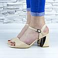 Босоножки женские бежевые на устойчивом каблуке эко кожа (b-689), фото 6