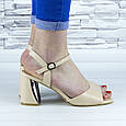 Босоножки женские бежевые на устойчивом каблуке эко кожа (b-689), фото 3