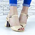 Босоножки женские бежевые на устойчивом каблуке эко кожа (b-689), фото 7