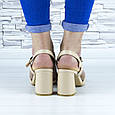 Босоножки женские бежевые на устойчивом каблуке эко кожа (b-689), фото 2