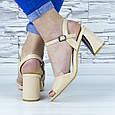 Босоножки женские бежевые на устойчивом каблуке эко кожа (b-689), фото 8