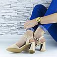 Босоножки женские бежевые на устойчивом каблуке эко кожа (b-689), фото 9