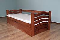 """Односпальная детская кровать с подъёмным механизмом с Бука """"Микки Маус"""" 190*80"""