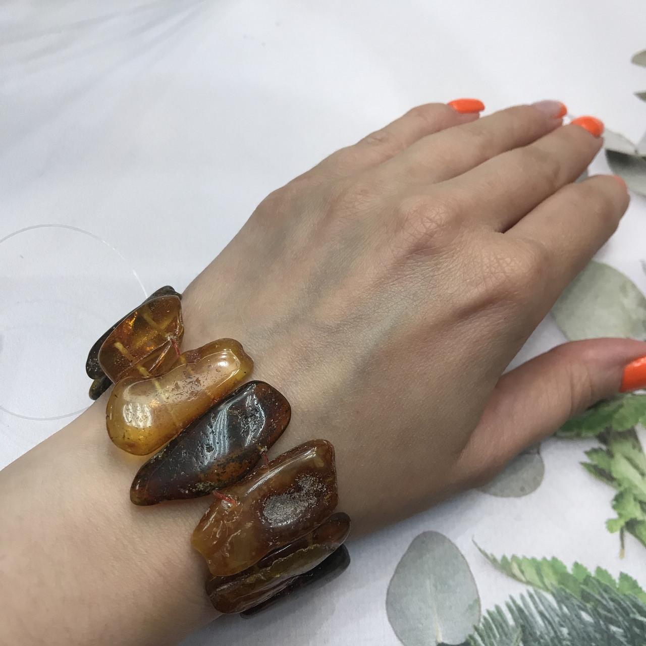 Янтарь браслет натуральный природный янтарь браслет на резинке