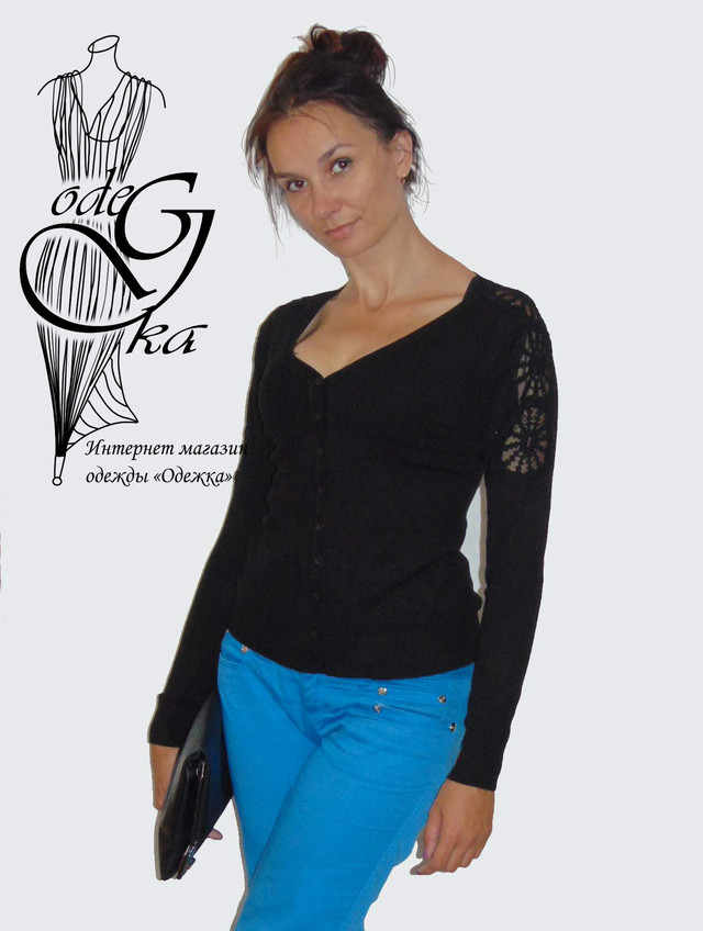 Фото Женских кофточек с длинным рукавом на пуговках 44-48 размера Снежинка KfSr4805