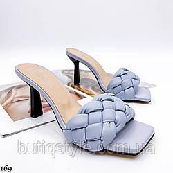 36,39 размер Женские голубые плетеные шлепки натуральная кожа на каблуке