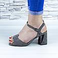 Босоножки женские серые на устойчивом каблуке эко замша (b-690), фото 4