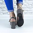 Босоножки женские серые на устойчивом каблуке эко замша (b-690), фото 3