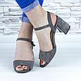 Босоножки женские серые на устойчивом каблуке эко замша (b-690), фото 8