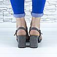 Босоножки женские серые на устойчивом каблуке эко замша (b-690), фото 10