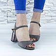 Босоножки женские серые на устойчивом каблуке эко замша (b-690), фото 2