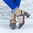 Босоножки женские серые на устойчивом каблуке эко замша (b-690), фото 6