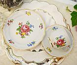 Немецкая чайная тройка, фарфоровая чашка, блюдце и десертная тарелка, Schirnding Porzellan, Германия, фото 2