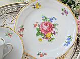 Немецкая чайная тройка, фарфоровая чашка, блюдце и десертная тарелка, Schirnding Porzellan, Германия, фото 6