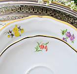 Немецкая чайная тройка, фарфоровая чашка, блюдце и десертная тарелка, Schirnding Porzellan, Германия, фото 7