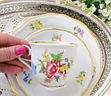 Немецкая чайная тройка, фарфоровая чашка, блюдце и десертная тарелка, Schirnding Porzellan, Германия, фото 8