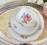 Немецкая чайная тройка, фарфоровая чашка, блюдце и десертная тарелка, Schirnding Porzellan, Германия, фото 4