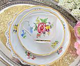 Немецкая чайная тройка, фарфоровая чашка, блюдце и десертная тарелка, Schirnding Porzellan, Германия, фото 3