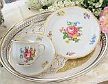 Немецкая чайная тройка, фарфоровая чашка, блюдце и десертная тарелка, Schirnding Porzellan, Германия, фото 9