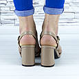 Босоножки женские бежевые на устойчивом каблуке эко кожа (b-691), фото 9