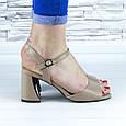 Босоножки женские бежевые на устойчивом каблуке эко кожа (b-691), фото 3