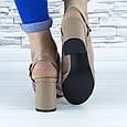 Босоножки женские бежевые на устойчивом каблуке эко кожа (b-691), фото 8