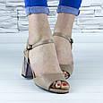 Босоножки женские бежевые на устойчивом каблуке эко кожа (b-691), фото 7