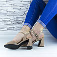 Босоножки женские бежевые на устойчивом каблуке эко кожа (b-691), фото 6