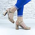 Босоножки женские бежевые на устойчивом каблуке эко кожа (b-691), фото 4