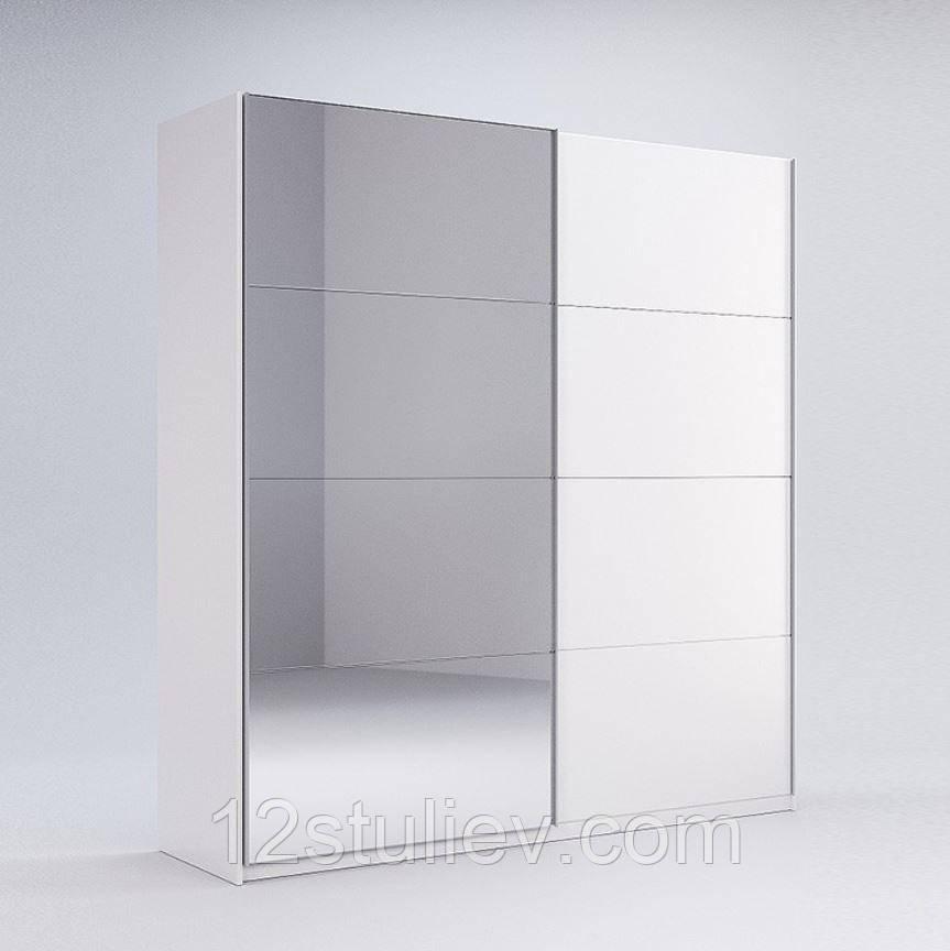 Шафа-КУПЕ Імперія 2,0 м (*Двері білий глянець/Дзеркало*)