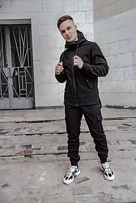 Костюм мужской черный демисезонный Softshell Easy куртка и штаны SKL59-290653