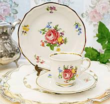 Немецкая чайная тройка, фарфоровая чашка, блюдце и десертная тарелка, Schirnding Porzellan, Германия