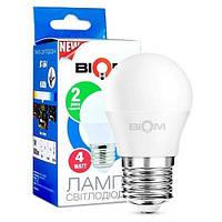Світлодіодна лампа Biom BT-544 G45 4W E27 4500К матова, фото 1