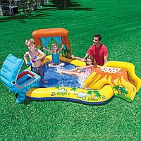 """Детский надувной бассейн с горкой для спуска Intex 57444 """"Динозавры"""" (249*191*109 см)"""