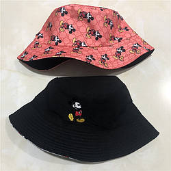 Панама для женщин и мужчин двухсторонняя хлопковая «Микки Маус», Красный + Черный