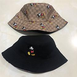Панама для женщин и мужчин двухсторонняя хлопковая «Микки Маус», Коричневый + Черный