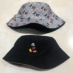 Панама для женщин и мужчин двухсторонняя хлопковая «Микки Маус», Серый + Черный