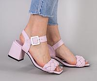 Босоножки косичка лиловые кожаные на устойчивом каблуке 5,5 см, фото 1