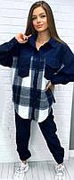 Женский вельветовый костюм синий SKL11-289501