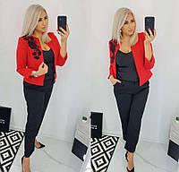 Женский классический костюм двойка красный SKL11-280467