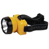 Ліхтар світлодіодний налобний Horoz Electric Beckham-1 LED 1Вт 100Лм 7000-9000К батарея 400мАч жовтий