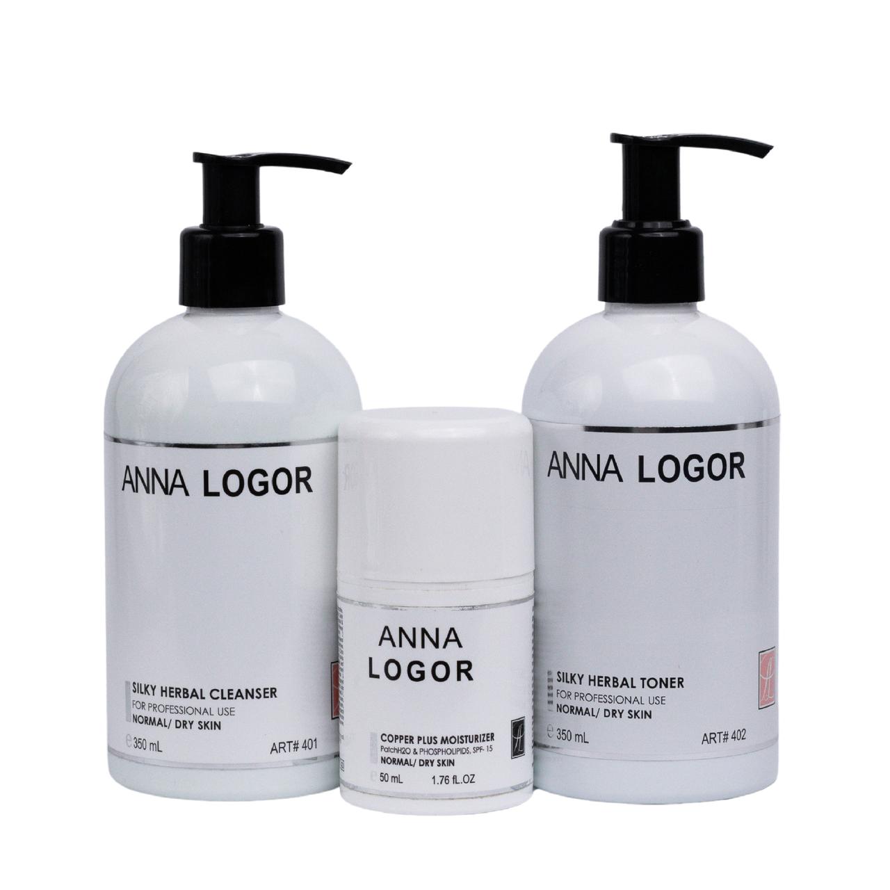 Набір косметики Anna LOGOR Silky Moisturizer Kit. Комплексний догляд. Серія для сухої шкіри обличчя