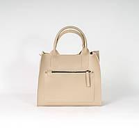Бежевая женская сумка K01-20/4 деловая через плечо три отделения, фото 1