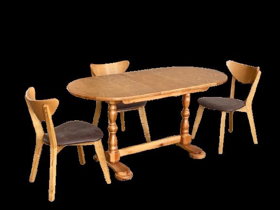 Деревянный стол кухонный овальный обеденный раздвижной
