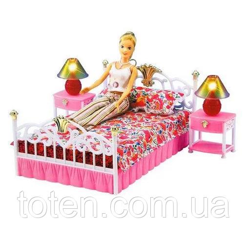 """Набор кукольной мебели Gloria 99001 """"Спальня"""" со светом, кровать, тумбы, светильник Т"""