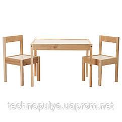 Столик дитячий і 2 стільці IKEA LÄTT Білий Сосна (501.784.11)