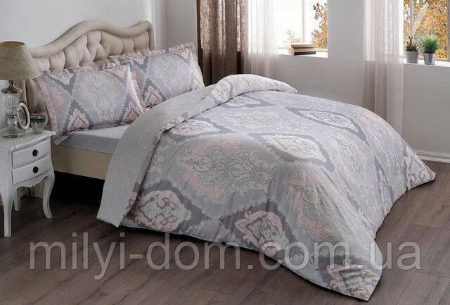 Набор постельного белья TAC Vales Pink сатин (семейный размер - 2 пододеяльника)