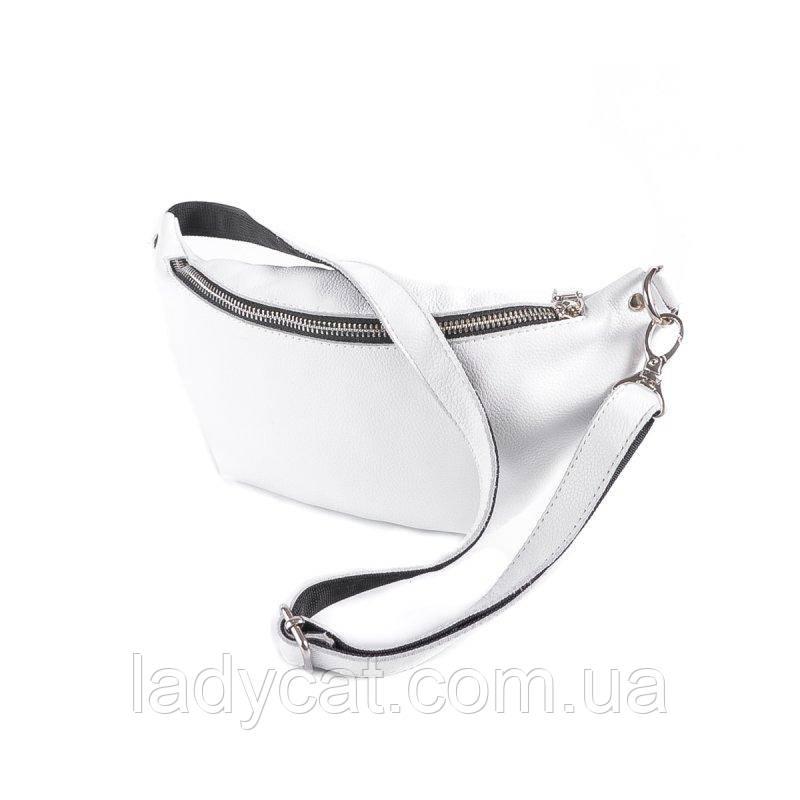 Женская кожаная сумка на пояс М273 White