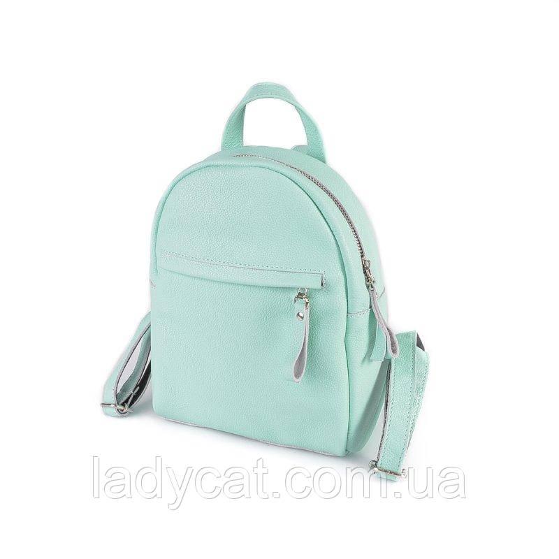 Молодежный кожаный мини-рюкзак М249 green