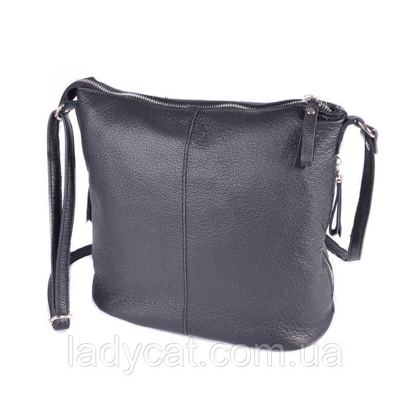 Кожаная сумочка с ремешком через плечо М268 black